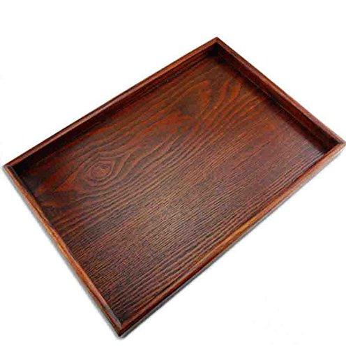 Plateau de service ottoman Super UD rectangulaire en bois avec pieds, idéal pour la nourriture, le café ou le thé, Bois dense, café, XXL