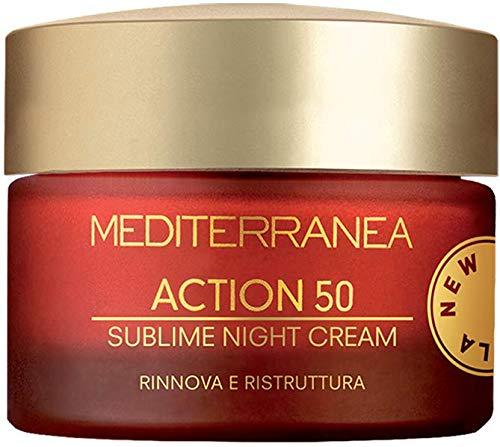 Mediterranea - Crème Visage de Nuit Hydratante Action 50 - Crème Anti-Rides aux Extraits de Gattilier Régénératrice et Éclaircissante - 50 ml