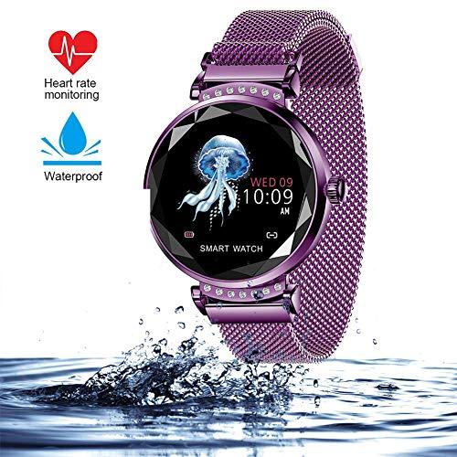 AGKupel Smartwatch für Damen Fitness Armband H2 Uhr Wasserdicht mit Herzfrequenz Blutdruck Pulsmesser Farbbildschirm Aktivitätstracker Schlafmonitor Schrittzähler für IOS Android (Gold) (lila)