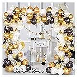 Globos de Oro Globloon Arch & Garland Kit 120pcs Negro, Blanco, Confeti de Oro y Globos de látex de Metal para la graduación Boda Cumpleaños Balloon Goltoon Arch & Garland Kit por fengl cuarsss
