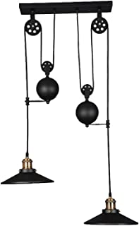 WINSOON Black Iron Painted Creative Pulley Style 2-Lights Vintage Pendant Lighting for Kitchen Island Bar (2 Heads)