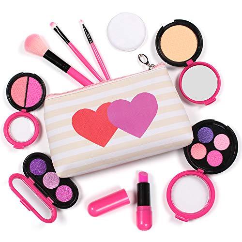 AMOSTING Maquillaje Infantil Princesas 9 Piezas Juego Maquillaje Niñas Kit de Maquillaje Lavable con Neceser, Juguetes de Maquillaje Niñas de 3 4 5 6 7 Años, Rosa