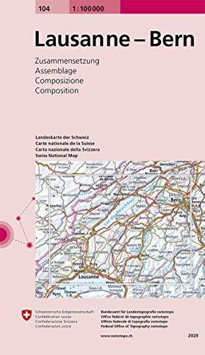 104 Lausanne - Bern: Zusammensetzung (Landeskarte 1:100 000 Zusammensetzung)