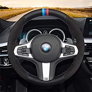 أغطية عجلة قيادة السيارة من بيوتي فور يو - غطاء جلدي أسود من الجلد السويدي لمقود السيارة BMW M سبورت G30 G31 G32 G20 G14 G...