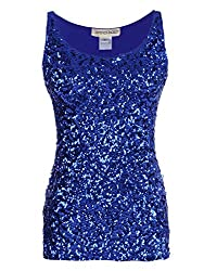 Blue Sequin Sleeveless Round Neck Tank Top
