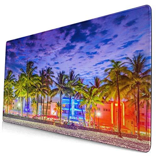 Bonita alfombrilla de ratón,Miami Beach,Florida,EE.UU.En Ocean Drive al atardecer,alfombrilla rectangular de goma antideslizante para escritorio,alfombrilla de escritorio para jugadores,15.8 'x29.5'