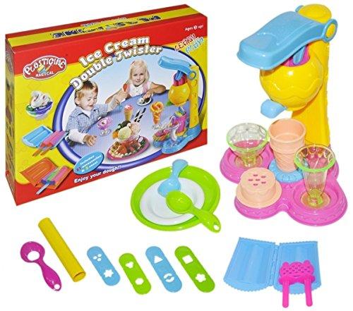 PREMIUM Hochwertige Eiscrememaschine für Kinder XXXL Set (26 Teile) Knete in 5 Farben - Eismaschine Softeismaschine Eis Eiscreme Ice Cream Kinderknete Knetmasse Eisladen Kaufladen Eismann Spiel