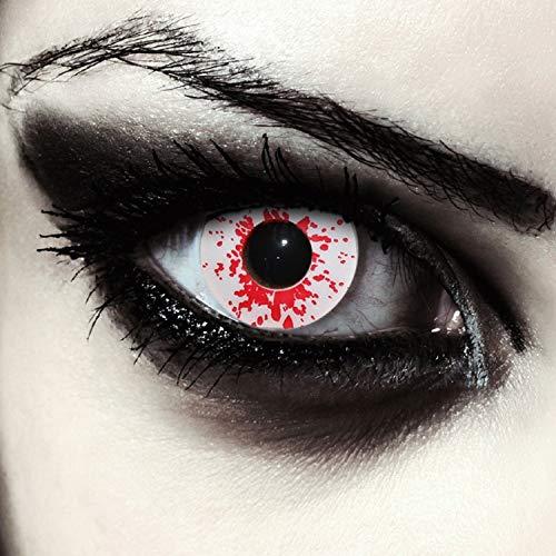 Farbige Blutspritzer Kontaktlinsen in weiß rot weiße blutige Linsen, 2 Stück, Designlenses, Model: Blood Splash