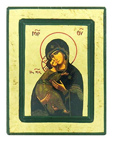 Ferrari & Arrighetti Icono Griego Virgen de la Ternura, litografía sobre Madera - 14,5 x 11,5 cm