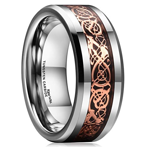 King Will Dragon 8mm Rose Gold Plated Celtic Dragon Tungsten Carbide Wedding Band Ring Comfort Fit 9