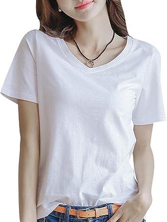 Camiseta de Manga Corta con Cuello en V Blanca de Verano para ...