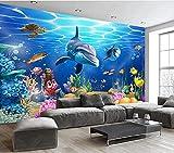 Papel Tapiz 3D Decoración Murales Fondo De Tv De Peces Tropicales De Acuario Mundial Submarino Estéreo 3D Wall-300Cmx210Cm