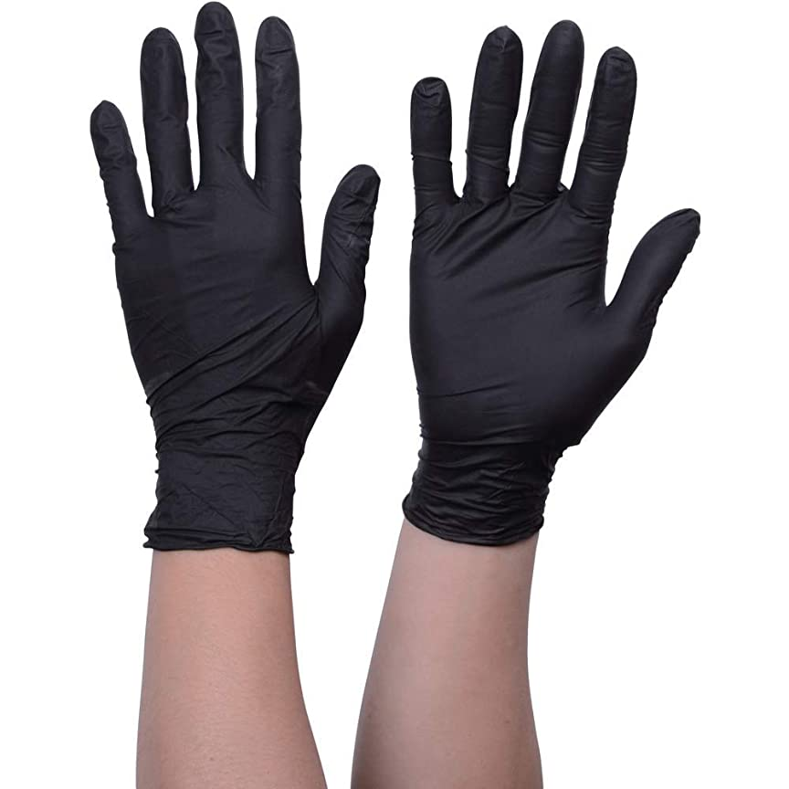 解釈的いわゆるタイマーニトリル手袋 使い捨て手袋防水耐油耐久性が強い上に軽く高品質ブラック100枚入
