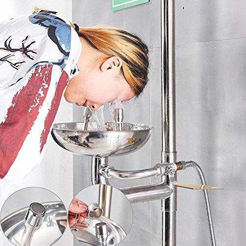 BTBHBI Duschsysteme, Sicherheitsausrüstung Notfall-Augenspülstation Bodenmontage Augenspülschüssel Unterlegscheibe Fausthilfe Wasserhahn Edelstahl 304, Helles Silber