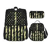 Camouflage American Flag Backpack Set 3-Piece Teen Boys Girls Backpack + Messenger Lunch Bag + Pencil Case Set