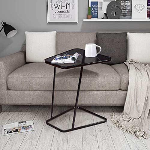 Tangkula Sofa Side End Table, Snack Table Home Glass Top Metal Frame C Shaped Table (1, Black)
