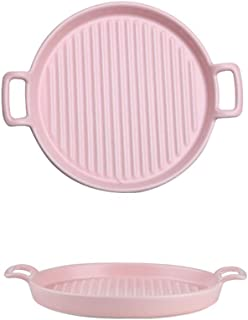 DSFHKUYB Ceramic Baking Dish Painted Square Lasagna Pans with Handle Porcelain Baking Meal Dual-Purpose Dinner Plates,Pink