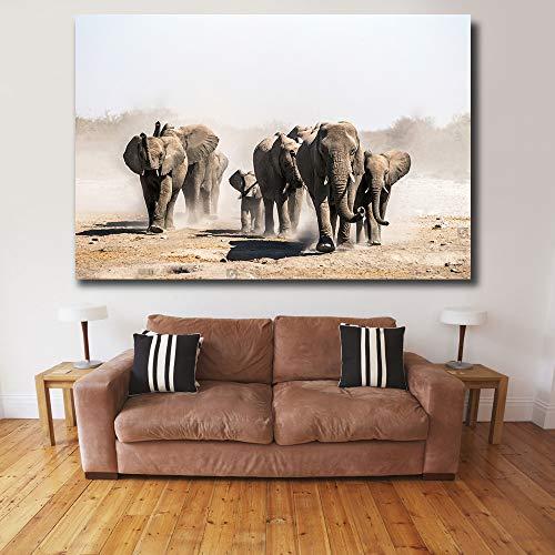 XCSMWJA 1 Stück Größe Moderner Wand Bilder Für Wohnzimmer Eine Herde Elefanten Tiere Leinwand Gemälde Home Decor Poster 60 * 90Cm