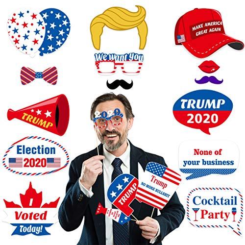 Amosfun 18pcs Trump Photo Booth Props 2020 US President Election Propaganda Voting Slogan Election Supplies