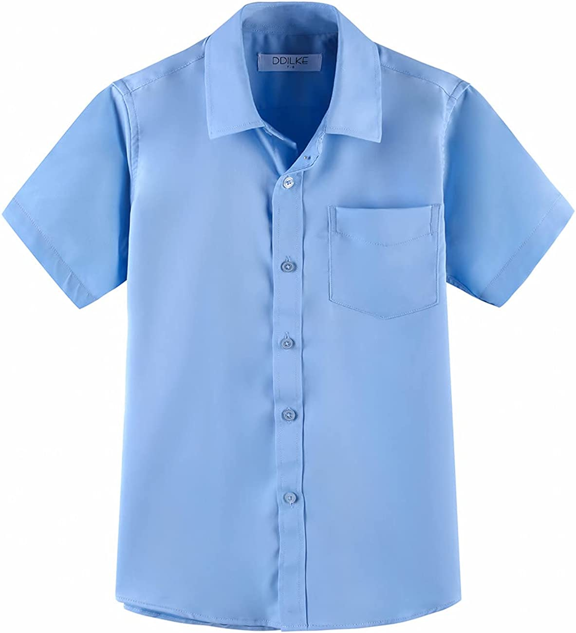 DDILKE Boys' Short Sleeve Dress Shirt Casual Button-Down Shirts, Blue, 11-12 Years