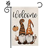 CROWNED BEAUTY Fall Garden Flag Thanksgiving Gnomes Pumpkin 12×18 Inch Double Sided Vertical Yard Seasonal Holiday Outdoor Decor CF260-12