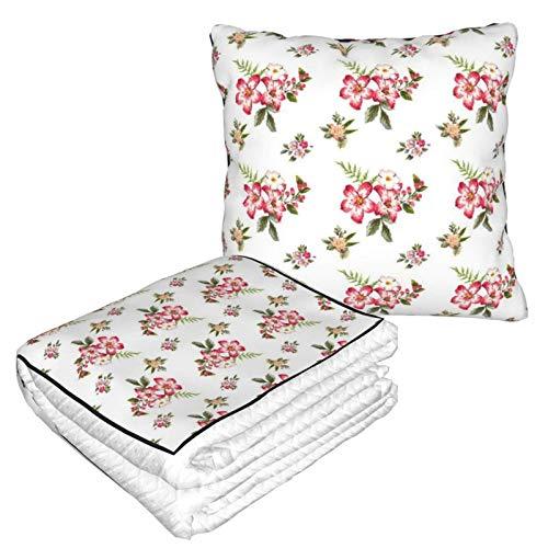 AEMAPE Manta de Almohada de Coche con patrón de Flores, Manta de sofá, Manta de Almohada de Viaje, cálida y Gruesa, Almohada de Cuello de Felpa de avión para dormir-46