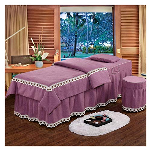 Juego de colcha de masaje de 4 piezas CABLETOS DE CORO NORDICA DE CORO NORDICA 4 PC para el salón de belleza Spa Hoja de falda de spa + cubierta de manta + funda de almohada + cubierta de silla 180x60