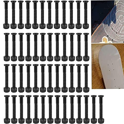 Skateboard Schrauben Skateboard Hardware Set Schrauben Muttern Sechskantschlüssel Inbusschlüssel Teile Für Die Reparatur Oder Wartung Von Skateboards Longboard Schrauben,50 Stück (25mm,Schwarz)