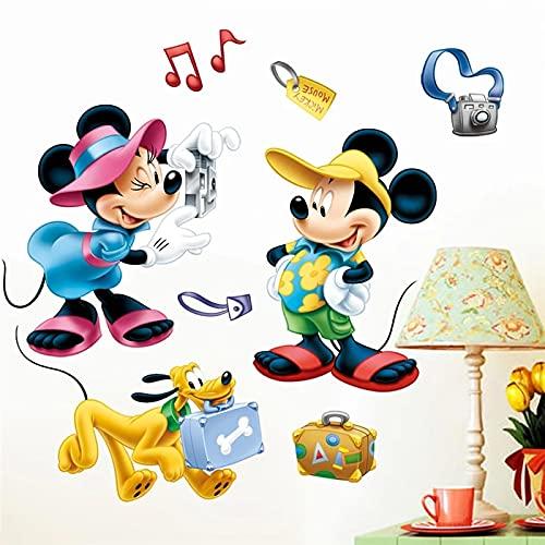 PUYIQARE 60X40Cm Disney Mickey Minnie Pluto Tomar una fotografía Pared Dormitorio decoración del hogar calcomanías de Pared de Dibujos Animados Carteles de Arte Mural de PVC