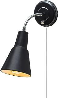 Globe Electric 65312 Ramezay 1-Light Plug-In or Hardwire Task Wall Sconce, Chrome Gooseneck, Matte Black Finish, 6ft Clear Cord