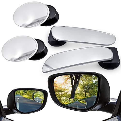 WEKON 360°Drehen Toter Winkel Spiegel, Einstellbare Weitwinkel Rückspiegel HD Konvexen Seitenansicht Spiegel für Auto, 2 x Kreis, 2 x Rechteck Randlos