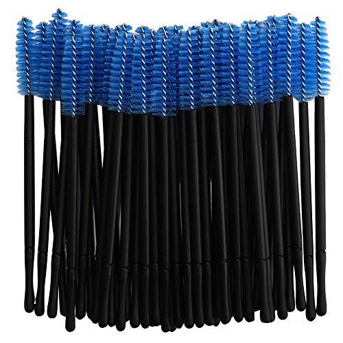 Paquet de 100 kits d'outils de pinceau de maquillage applicateur de baguettes de cils jetables, cinq couleurs pour choisis(bleu)