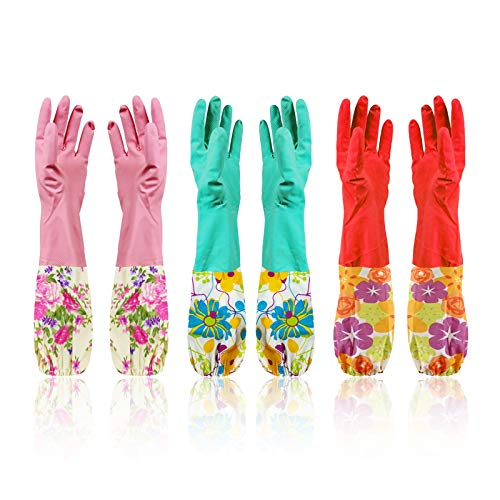 Cindy&Will 3Pairs Reusable Elastic Cuff Extra Long Sleeves Latex Gloves, 20', Large Size