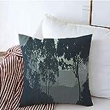 Fodere per cuscini decorativi Rami 2D Piante nebbiose Alberi Arbusti Nebbia Foresta profonda Montagne Legname Parchi naturali Erba All'aperto copricuscini 45 X 45CM