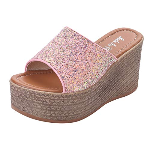 WFRAU Damen Sommer Uni-Farbe Pailletten Bling Dicke Keile Pantoffeln Espadrille Plateau-Sandalen Damenmode Anti-Rutsch-Outdoor-Walking-Schuhe Bequeme Pantoffeln Prinzessinnen-Schuhe