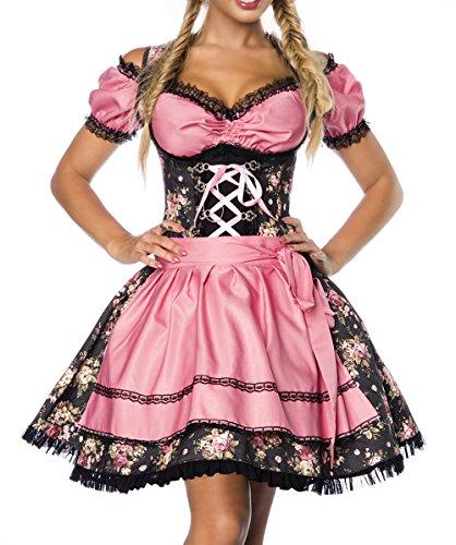 Dirndl Kleid Kostüm mit Bluse und Schürze aus Denim Stoff und Spitze Oktoberfest Dirndl schwarz/rosa XXL