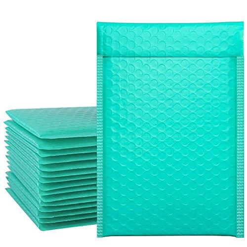 ZhaoCo 50 piezas A5 153 x 270 mm Sobres acolchados con burbujas de polietileno verde azulado con cierre automático Bolsas de envío