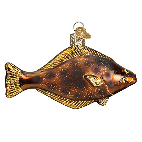 Old World Christmas Pacific Halibut Blown Glass 2020 Unique Christmas Ornaments for Christmas Tree Decorations