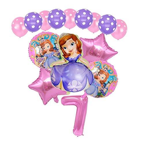 Djujiabh Ballons 5pcs Gâteau d'anniversaire Princesse Cendrillon Balloons Ariel Belle Raiponce bébé Birthday Party Décorations (Color : 15pcs 7)