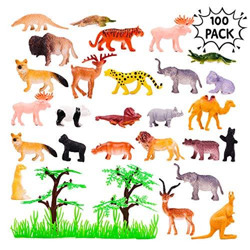 100 Stück Mini Spielzeug Tierfiguren Set – Z00 Tiere Kinderspielzeug Spiel-Figuren – ideale Kindergeburtstag Geschenke & Mitgebsel