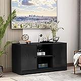 TETHYSUN TV Board, Schwarz Modern TV Schrank TV-Ständer mit offenen Lagerregalen und 2 Lagerschränken, Medienkonsolentisch, 108 x 39 x 57cm