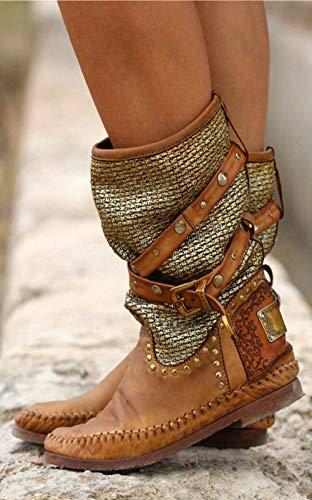 QSLS Botas artificiales de PU de cabeza redonda para mujer, de tubo medio, remaches de metal, 41
