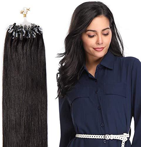 Extension Cheveux Naturel a Froid à Anneaux - Rajout Cheveux Humain (#1B Noir naturel, 40cm-50g)