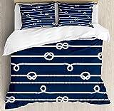 ABAKUHAUS Azul marinoFunda Nórdica, Marinero Nudos Marino, 2 Fundas para Almohada Set Decorativo de 3 Piezas, 220 X 220 cm, Azul y Blanco