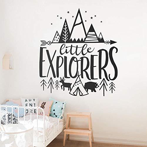 JXMN Little Explorer Pegatinas de Pared de Vinilo para bebé habitación de guardería calcomanías de Pared extraíbles habitación para niños Woodland Adventure Home Art Deco Wallpaper 64x56cm