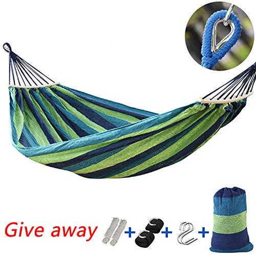 XKRSBS Hamaca, Jardín Interior Al Aire Libre Camping Doble Columpio Palo Antivuelco Lienzo De Madera Portátil para Viajes con Mochila Y Playa,Azul