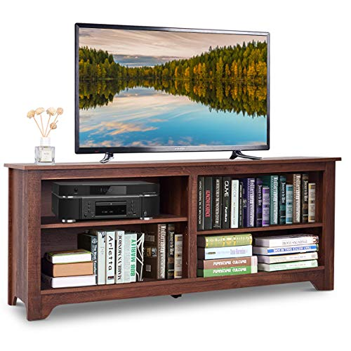Tangkula Modern TV Stand, Classic Wood TV Console Table for...