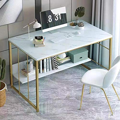 Champagne Gold Metal Legs and White Faux Marble 47.5' W Large Computer Laptop Desk with Bookshelf, Office Desk, Writing Desk, Wood and Metal Frame, Study Table Workstation for Home Office by RAAMZO