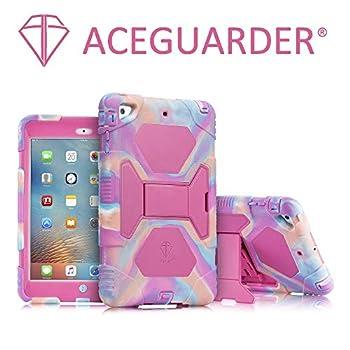 iPad Mini Case ACEGUARDER Full Body Protective Premium Soft Silicone Cover with Adjustable Kickstand for iPad Mini 1 2 3  PinkCamo/Rose