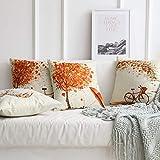 Gspirit 4 Stück Kissenbezug Herbst Ahornblatt Muster Dekorative Kissenhülle Baumwolle Leinen Werfen Sie Kissenbezüge 45x45 cm - 4